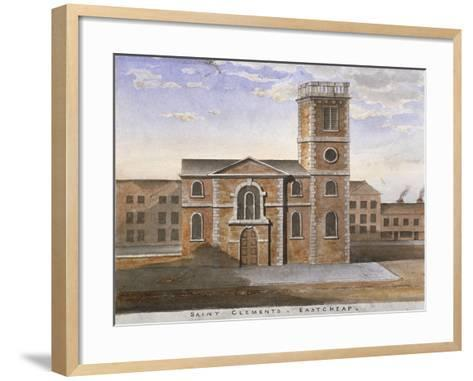 South View of the Church of St Clement, Eastcheap, City of London, 1820--Framed Art Print