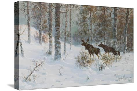 Winter Landscape with Mooses, 1907-Count Vladimir Leonidovich Muravyov-Stretched Canvas Print