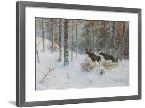 Winter Landscape with Mooses, 1907-Count Vladimir Leonidovich Muravyov-Framed Art Print