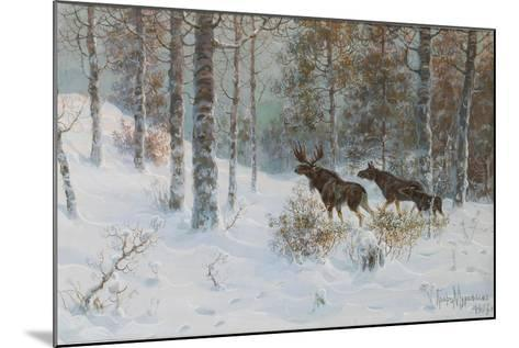 Winter Landscape with Mooses, 1907-Count Vladimir Leonidovich Muravyov-Mounted Giclee Print