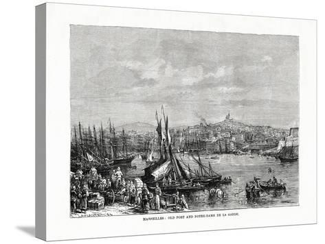 Old Port and Notre Dame De La Garde, Marseilles, France, 1879--Stretched Canvas Print