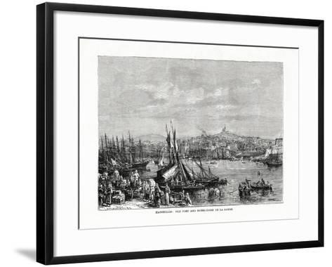 Old Port and Notre Dame De La Garde, Marseilles, France, 1879--Framed Art Print