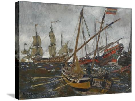 Ships at the Time of Peter I, 1909-Evgeny Evgenyevich Lanceray-Stretched Canvas Print