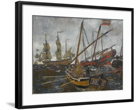 Ships at the Time of Peter I, 1909-Evgeny Evgenyevich Lanceray-Framed Art Print