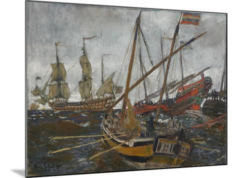Ships at the Time of Peter I, 1909-Evgeny Evgenyevich Lanceray-Mounted Giclee Print