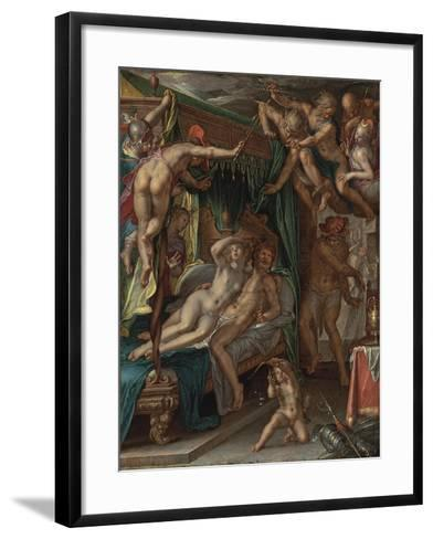 Mars and Venus Surprised by Vulcan-Joachim Wtewael-Framed Art Print