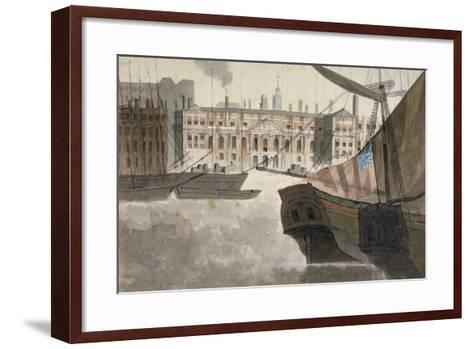 View of the Custom House from the River Thames, City of London, 1810--Framed Art Print