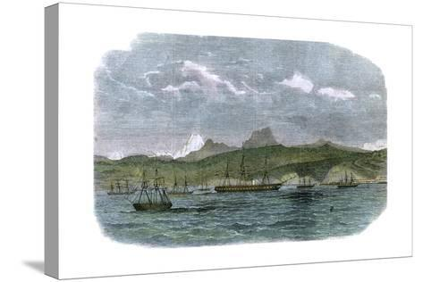 The Spanish Blockading Squadron at Valparaiso, Chile, C1880--Stretched Canvas Print