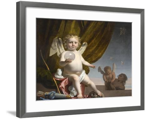 Amor Holding a Glass Orb, 1650-1660-Caesar Boëtius van Everdingen-Framed Art Print