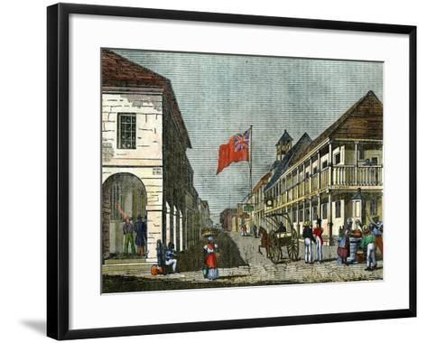 Junction of Harbour Street and King Street, Kingston, Jamaica, C1835--Framed Art Print