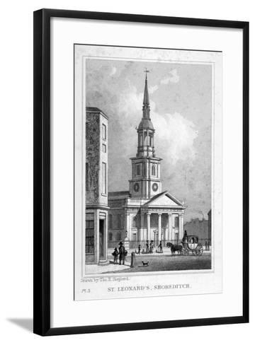 View from the West of St Leonard's Church, Shoreditch, London, C1827--Framed Art Print