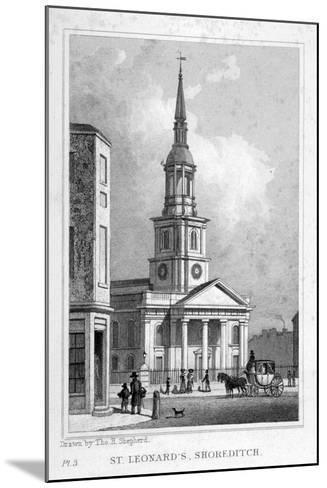 View from the West of St Leonard's Church, Shoreditch, London, C1827--Mounted Giclee Print