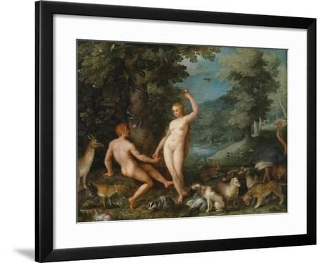 Paradise Landscape with Eve Tempting Adam-Jan Brueghel the Younger-Framed Art Print