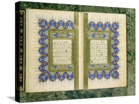 Double Page Spread from a Koran with Marginal Decoration, 1867--Stretched Canvas Print