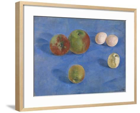 Still Life. Apples and Eggs, 1921-Kuzma Sergeyevich Petrov-Vodkin-Framed Art Print