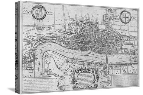 Map of the City of London and City of Westminster in C1600, 1708--Stretched Canvas Print