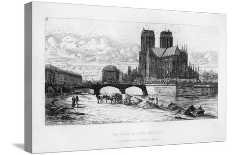 The Abside (Aps) of Notre Dame Cathedral, Paris, France, C19th Century-Charles Meryon-Stretched Canvas Print