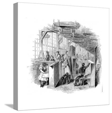 Broadwood's Piano Factory, Horseferry Road, Westminster, London, 1842--Stretched Canvas Print