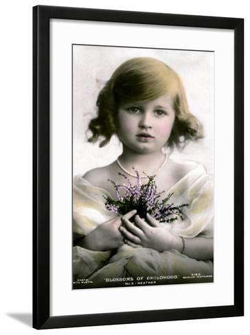 Blossoms of Childhood No.3: Heather, Early 20th Century- J Beagles & Co-Framed Art Print