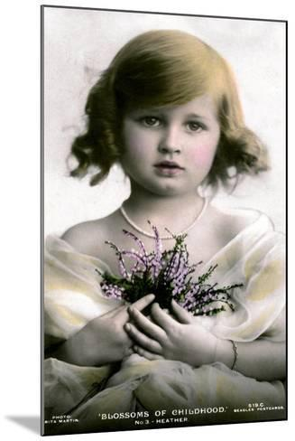 Blossoms of Childhood No.3: Heather, Early 20th Century- J Beagles & Co-Mounted Giclee Print