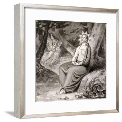Christ in the Garden with Angels, 19th Century--Framed Art Print