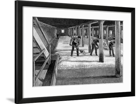 Malting Floor in an American Brewery, 1885--Framed Art Print