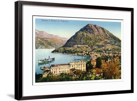 Lugano and Monte San Salvatore, Switzerland, 20th Century--Framed Art Print
