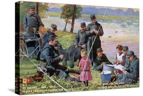 The War on the Yser, French WWI Postcard, 1914-1918--Stretched Canvas Print