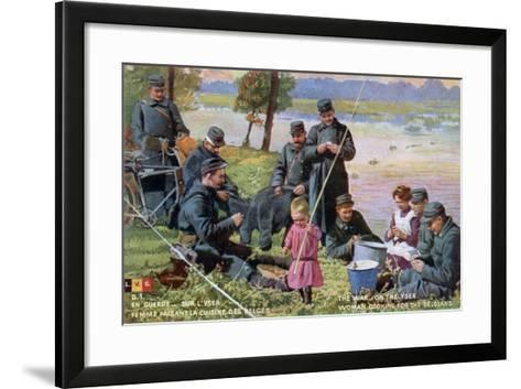The War on the Yser, French WWI Postcard, 1914-1918--Framed Art Print