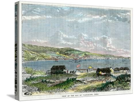 View of the Bay of Valparaiso, Chili, C1880--Stretched Canvas Print