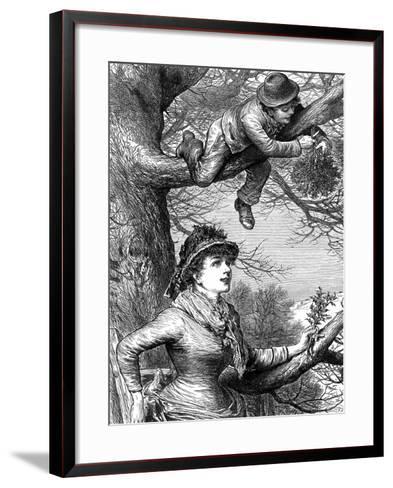 Cutting the Mistletoe Bough for Christmas Decoration, 1886--Framed Art Print