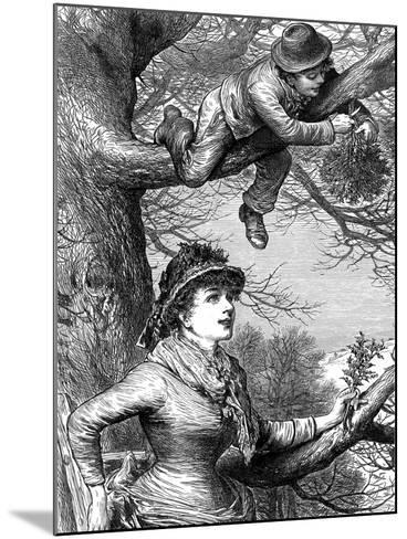 Cutting the Mistletoe Bough for Christmas Decoration, 1886--Mounted Giclee Print
