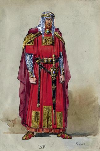 Medieval Prince. Costume Design-L?on Bakst-Stretched Canvas Print