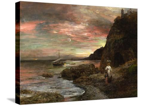 Evening Sun at Posillipo-Oswald Achenbach-Stretched Canvas Print
