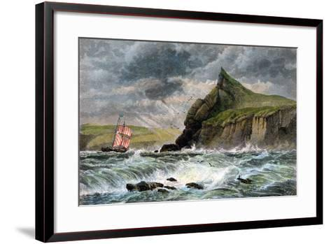 The Entrance to Fowey Harbour, Cornwall, 19th Century--Framed Art Print