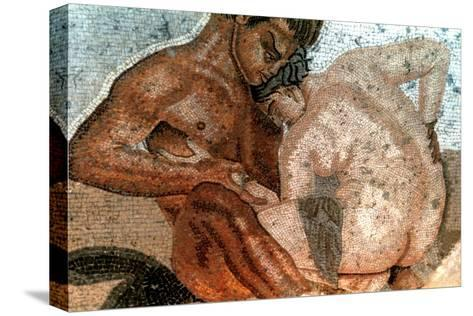 Mosaic of a Satyr and Nymph, House of Faun, Pompeii, Italy--Stretched Canvas Print