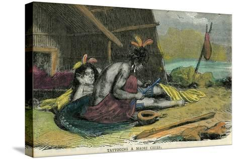 Tatooing a Maori Chief, Late 19th Century--Stretched Canvas Print