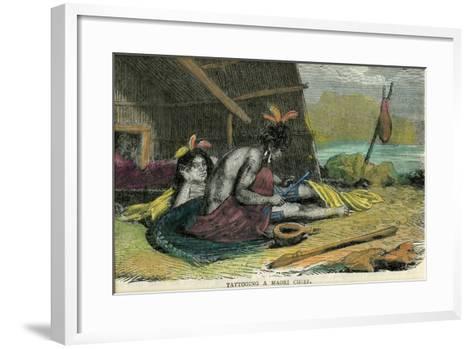 Tatooing a Maori Chief, Late 19th Century--Framed Art Print