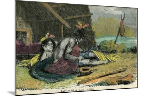 Tatooing a Maori Chief, Late 19th Century--Mounted Giclee Print
