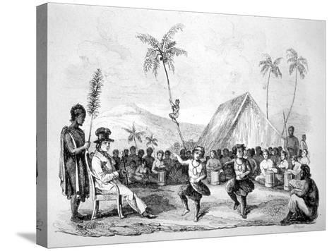 Dance of the Two Children, Hawaii, 19th Century-Ellis -Stretched Canvas Print