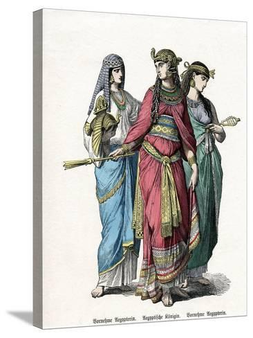Egyptian Queen and Female Attendants, Mid 19th Century--Stretched Canvas Print