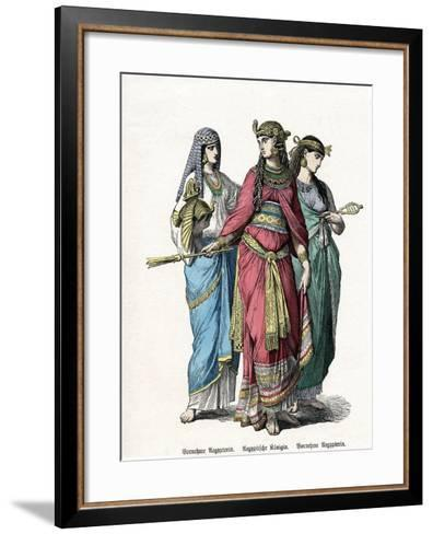 Egyptian Queen and Female Attendants, Mid 19th Century--Framed Art Print
