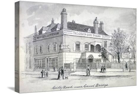 View of the Green Gate Tavern, City Road, Finsbury, C1850--Stretched Canvas Print
