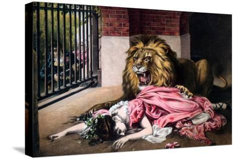 Caged Lion with Sleeping Woman, C19th Century--Stretched Canvas Print