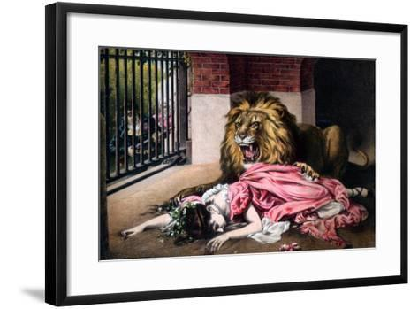 Caged Lion with Sleeping Woman, C19th Century--Framed Art Print