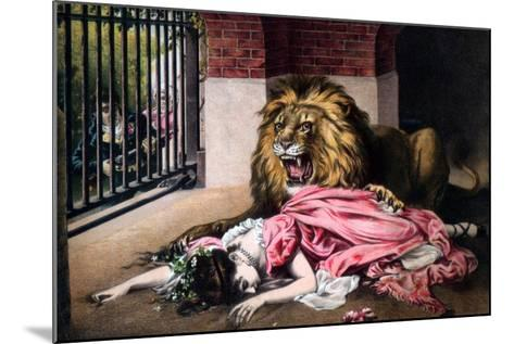 Caged Lion with Sleeping Woman, C19th Century--Mounted Giclee Print