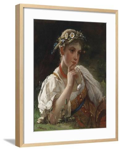 Young Girl with a Garland-Firs Sergeevich Zhuravlev-Framed Art Print
