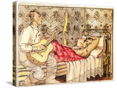 By Guitar Sound, 1921-Boris Michaylovich Kustodiev-Stretched Canvas Print