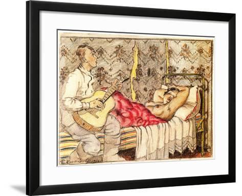 By Guitar Sound, 1921-Boris Michaylovich Kustodiev-Framed Art Print