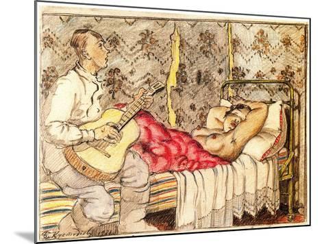 By Guitar Sound, 1921-Boris Michaylovich Kustodiev-Mounted Giclee Print